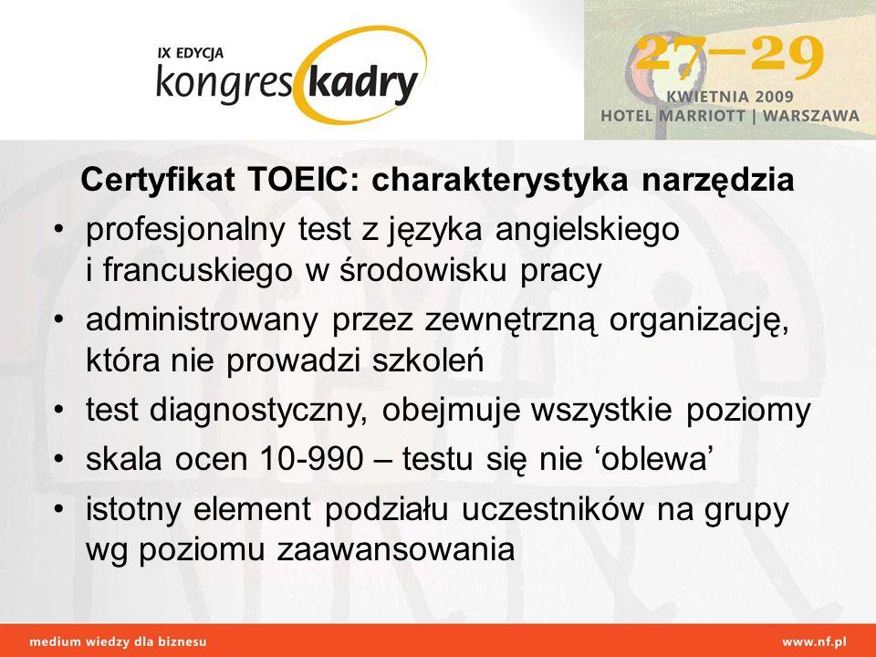 Certyfikat TOEIC: charakterystyka narzędzia