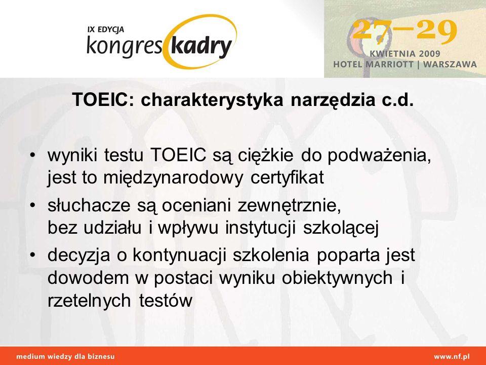 TOEIC: charakterystyka narzędzia c.d.