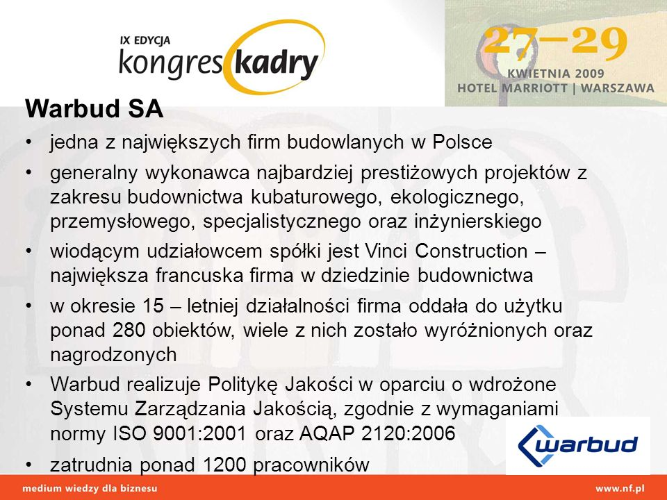 Warbud SA jedna z największych firm budowlanych w Polsce