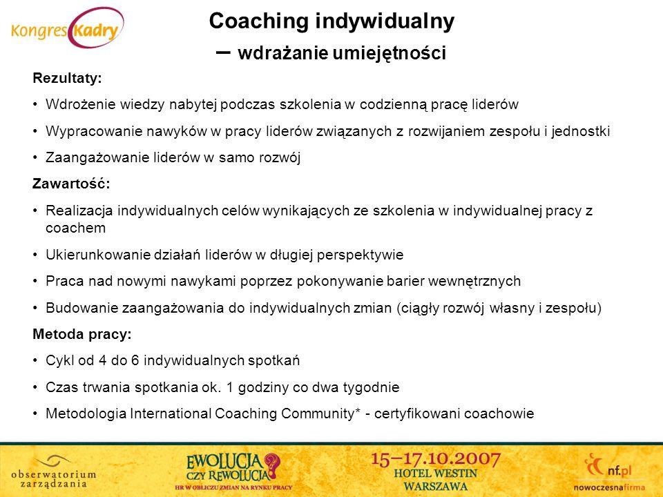 Coaching indywidualny – wdrażanie umiejętności