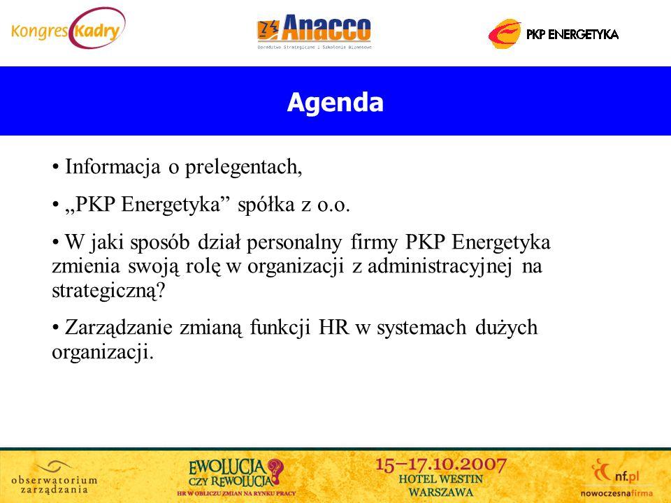 """Agenda Informacja o prelegentach, """"PKP Energetyka spółka z o.o."""