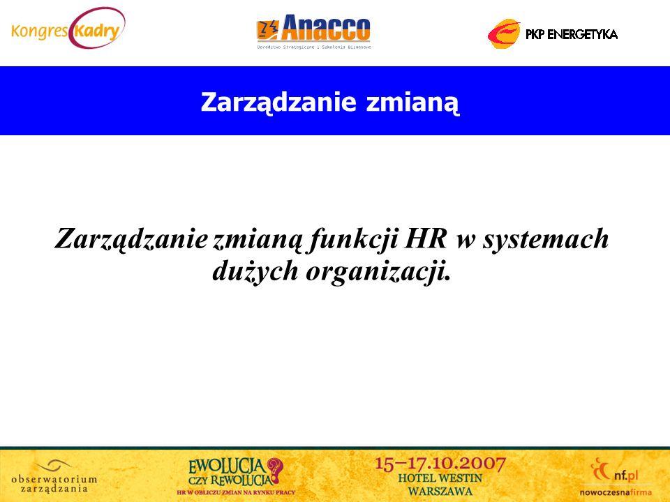 Zarządzanie zmianą funkcji HR w systemach dużych organizacji.