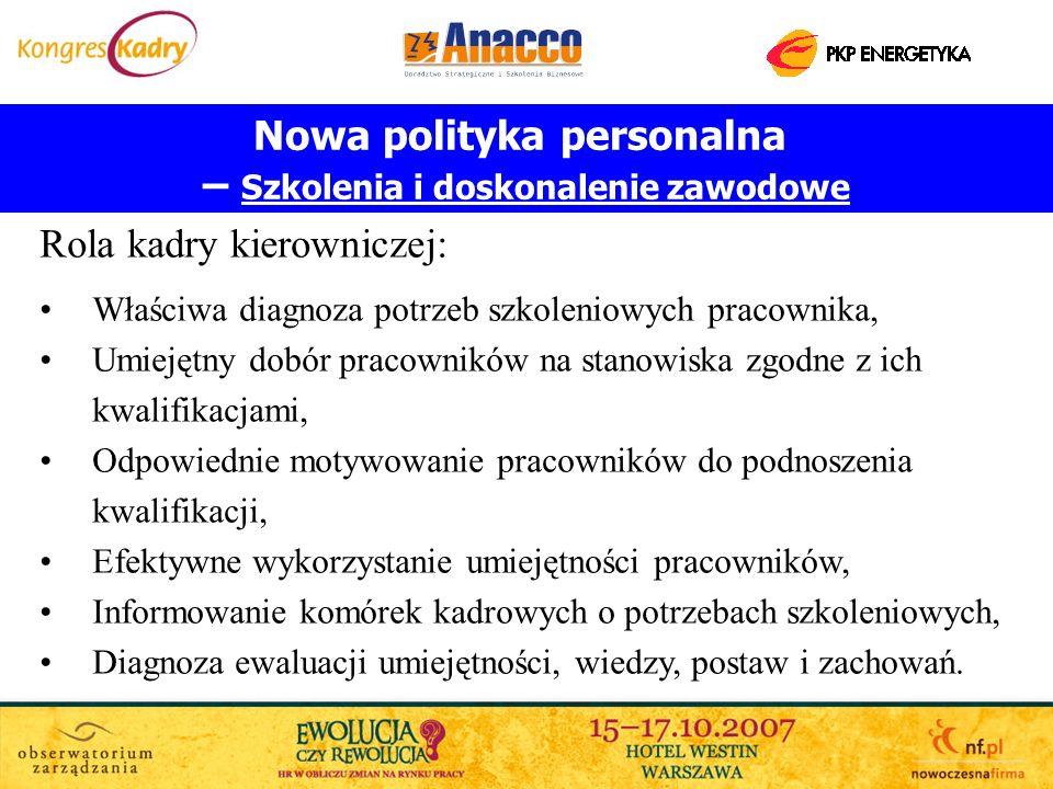Nowa polityka personalna – Szkolenia i doskonalenie zawodowe
