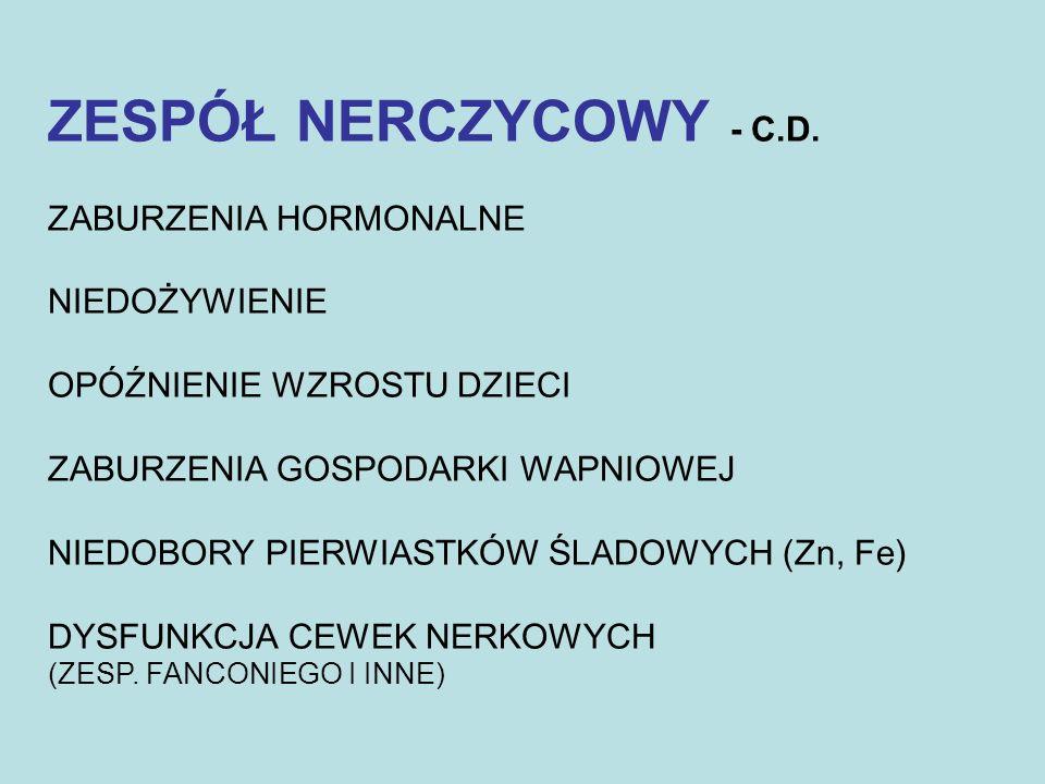 ZESPÓŁ NERCZYCOWY - C.D. ZABURZENIA HORMONALNE NIEDOŻYWIENIE