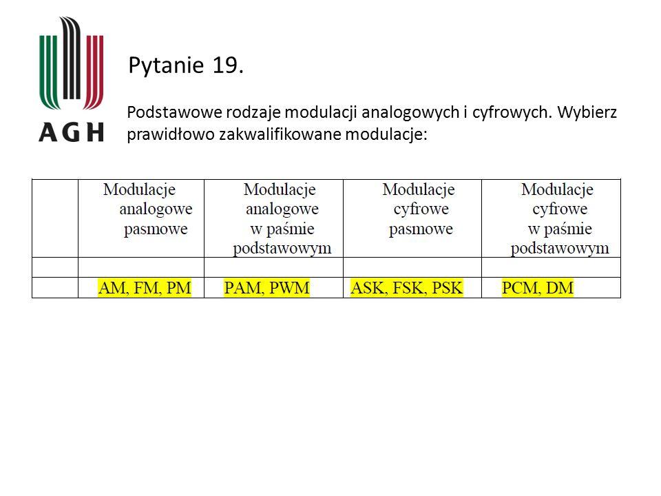Pytanie 19. Podstawowe rodzaje modulacji analogowych i cyfrowych.