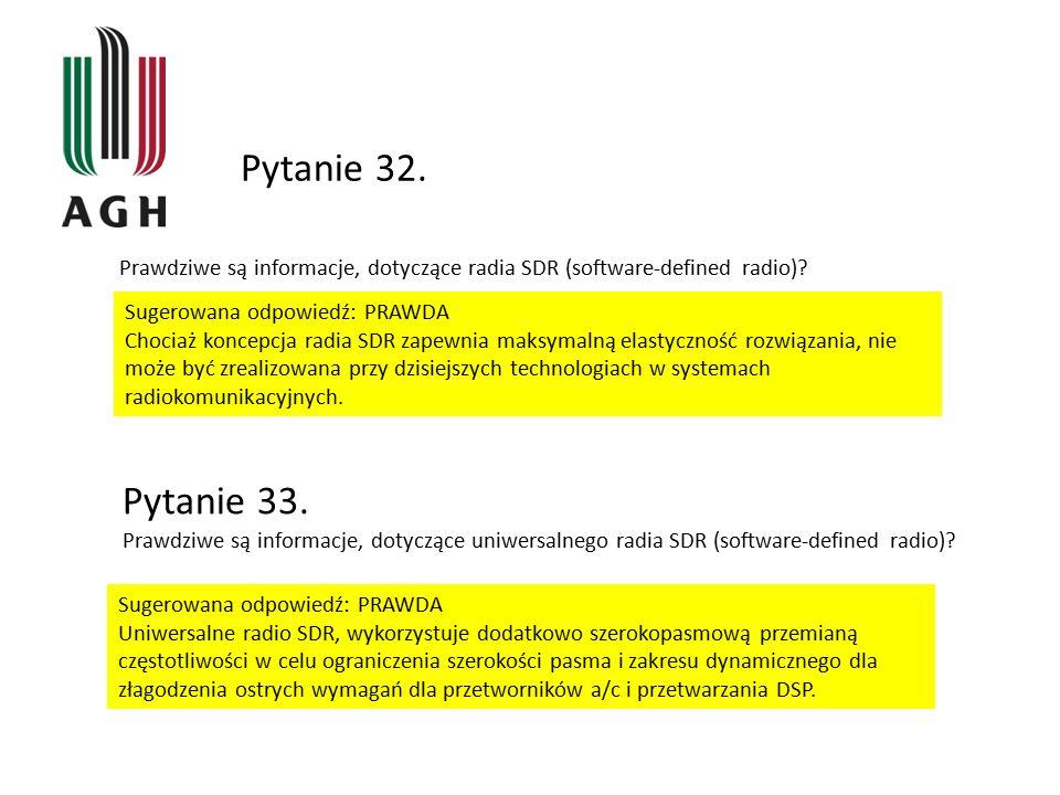Pytanie 32. Prawdziwe są informacje, dotyczące radia SDR (software-defined radio) Sugerowana odpowiedź: PRAWDA.