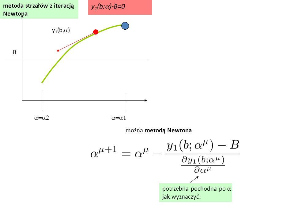 y1(b;a)-B=0 metoda strzałów z iteracją Newtona y1(b,a) B a=a2 a=a1