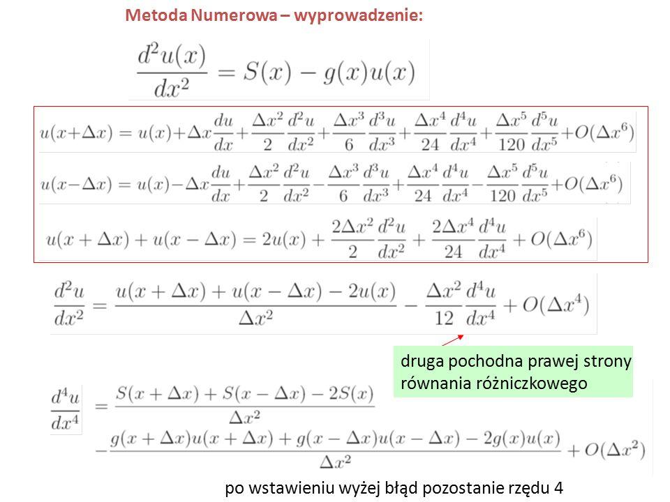 Metoda Numerowa – wyprowadzenie: