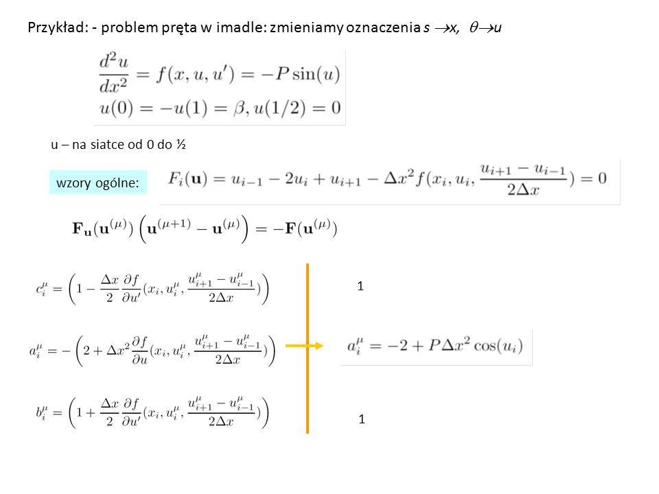 Przykład: - problem pręta w imadle: zmieniamy oznaczenia s x, qu