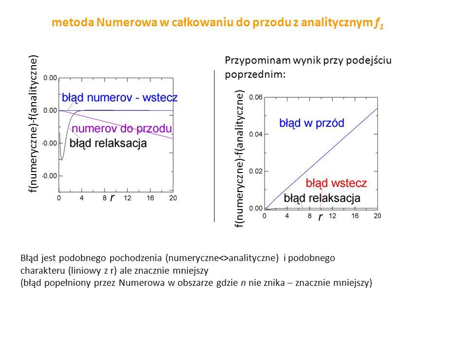 metoda Numerowa w całkowaniu do przodu z analitycznym f1