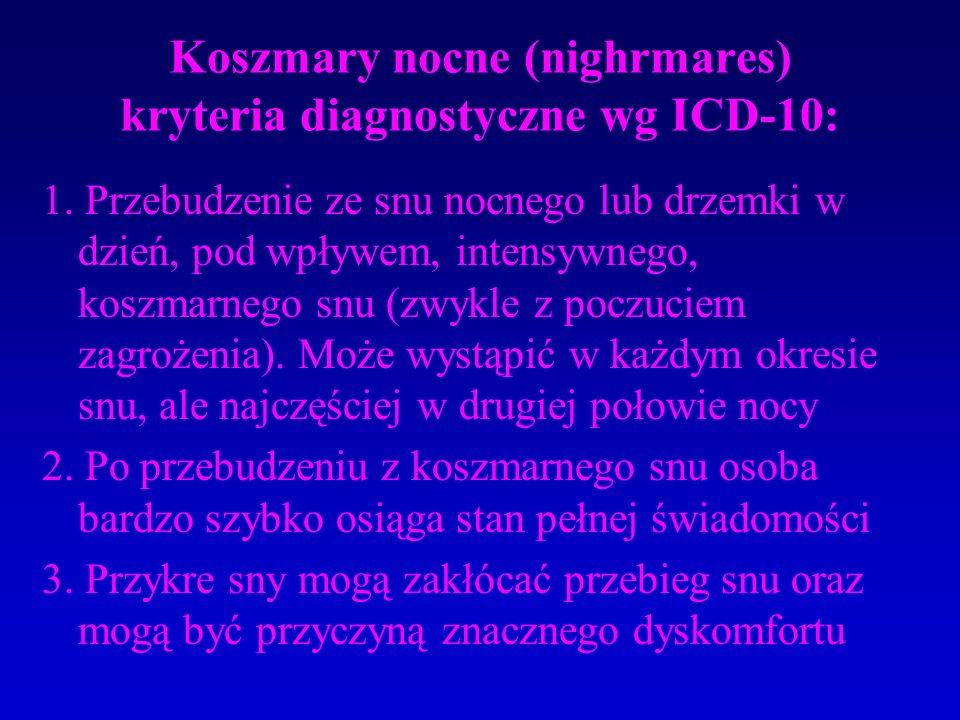 Koszmary nocne (nighrmares) kryteria diagnostyczne wg ICD-10: