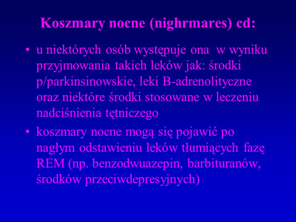 Koszmary nocne (nighrmares) cd: