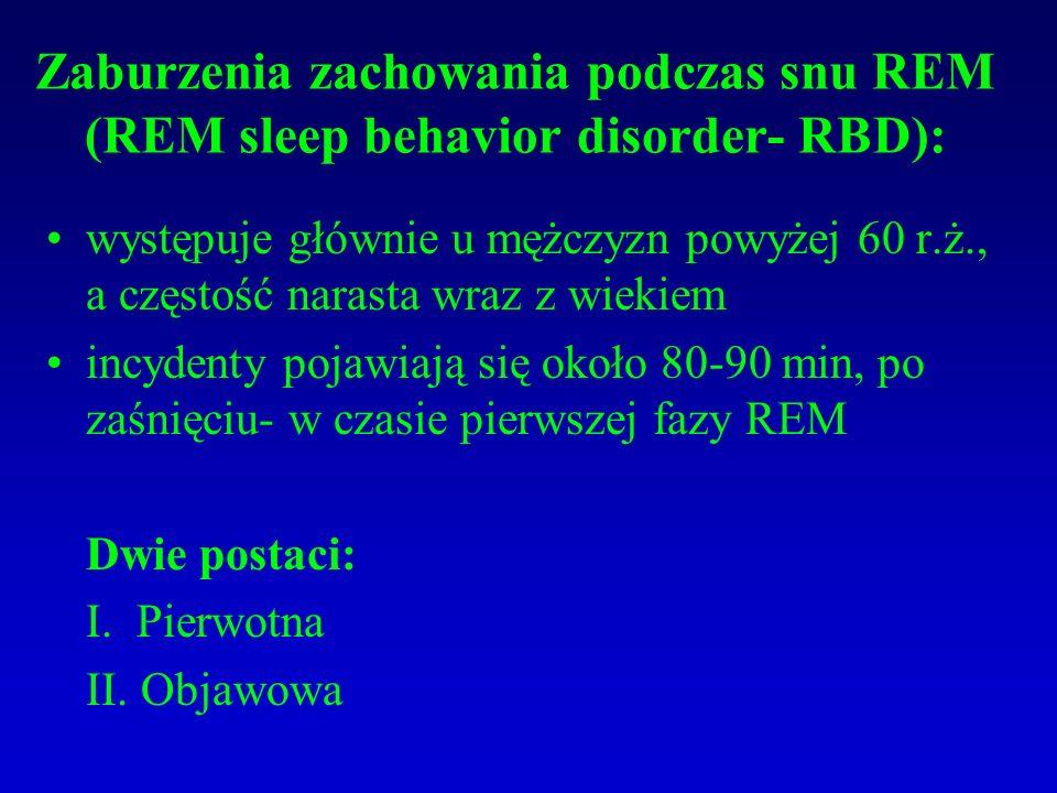 Zaburzenia zachowania podczas snu REM (REM sleep behavior disorder- RBD):