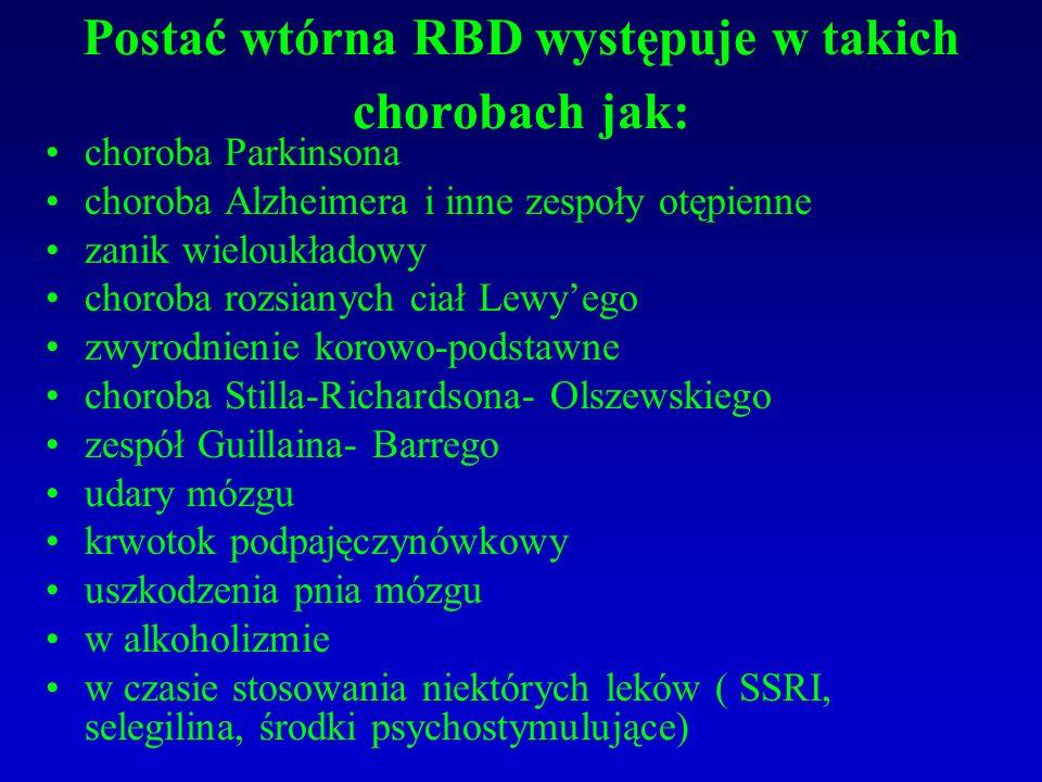 Postać wtórna RBD występuje w takich chorobach jak: