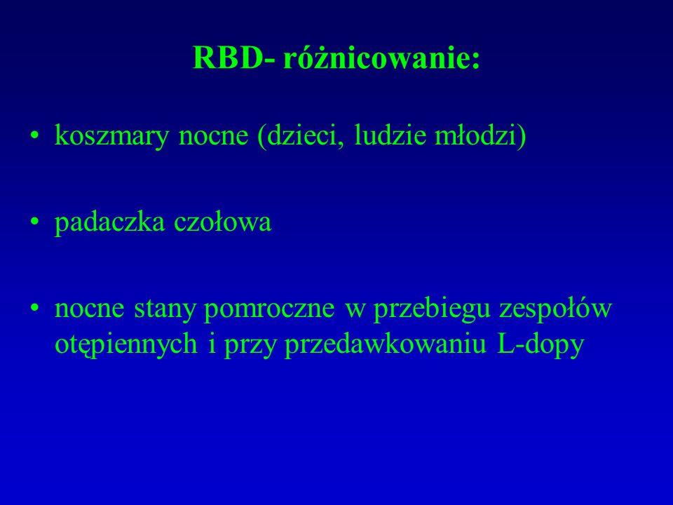 RBD- różnicowanie: koszmary nocne (dzieci, ludzie młodzi)