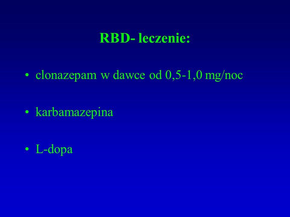 RBD- leczenie: clonazepam w dawce od 0,5-1,0 mg/noc karbamazepina