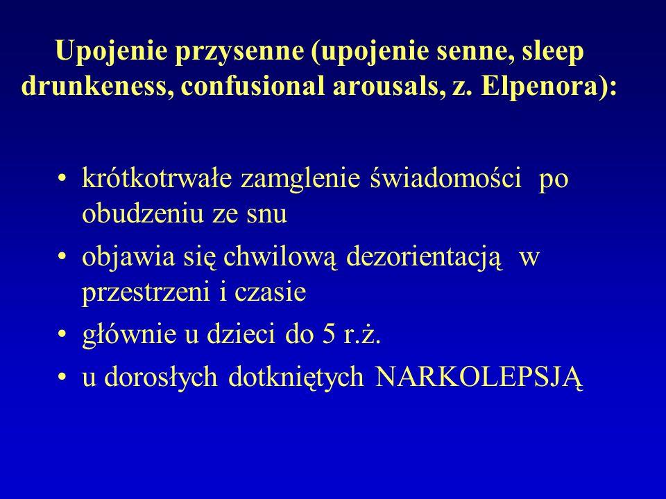 Upojenie przysenne (upojenie senne, sleep drunkeness, confusional arousals, z. Elpenora):