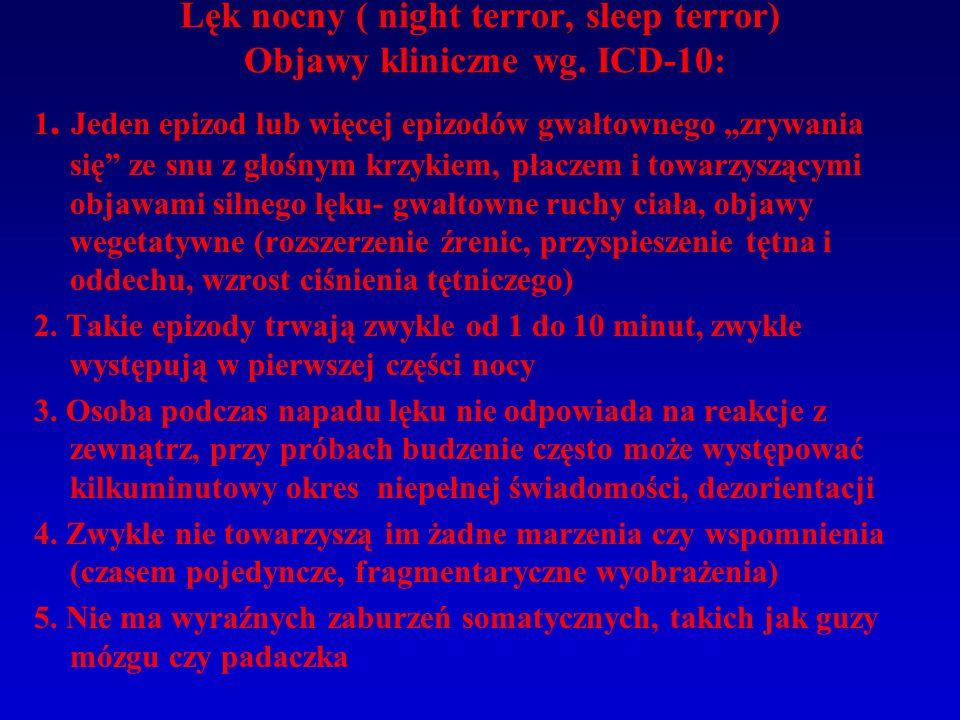 Lęk nocny ( night terror, sleep terror) Objawy kliniczne wg. ICD-10: