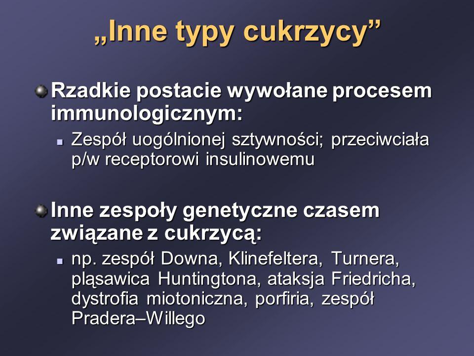 """""""Inne typy cukrzycy Rzadkie postacie wywołane procesem immunologicznym: Zespół uogólnionej sztywności; przeciwciała p/w receptorowi insulinowemu."""