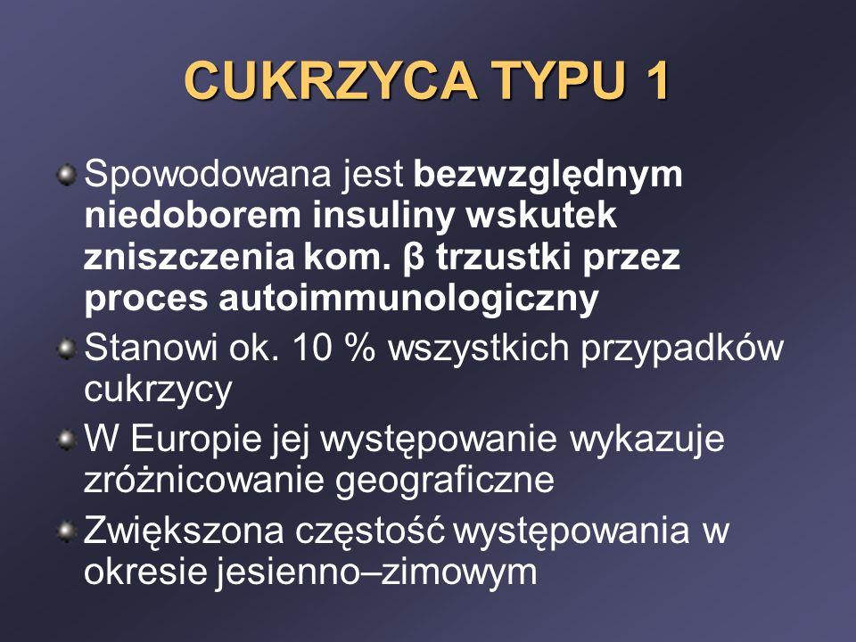 CUKRZYCA TYPU 1 Spowodowana jest bezwzględnym niedoborem insuliny wskutek zniszczenia kom. β trzustki przez proces autoimmunologiczny.