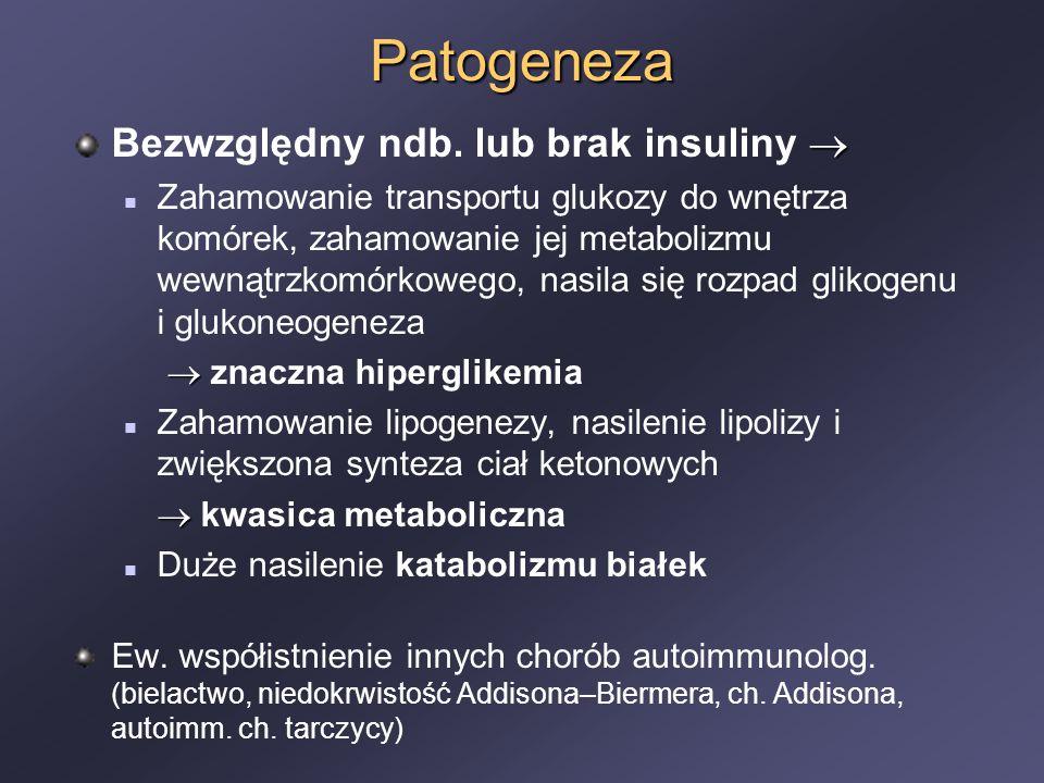 Patogeneza Bezwzględny ndb. lub brak insuliny 