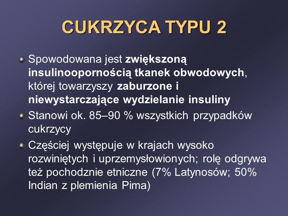 CUKRZYCA TYPU 2 Spowodowana jest zwiększoną insulinoopornością tkanek obwodowych, której towarzyszy zaburzone i niewystarczające wydzielanie insuliny.