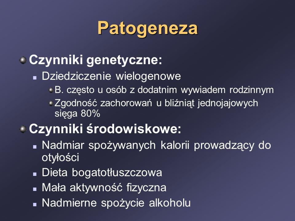 Patogeneza Czynniki genetyczne: Czynniki środowiskowe: