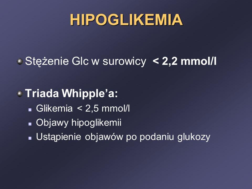 HIPOGLIKEMIA Stężenie Glc w surowicy < 2,2 mmol/l Triada Whipple'a: