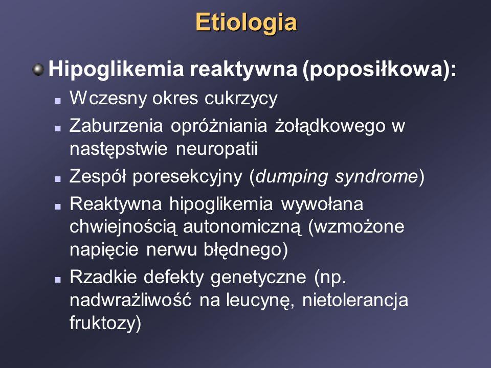 Etiologia Hipoglikemia reaktywna (poposiłkowa): Wczesny okres cukrzycy
