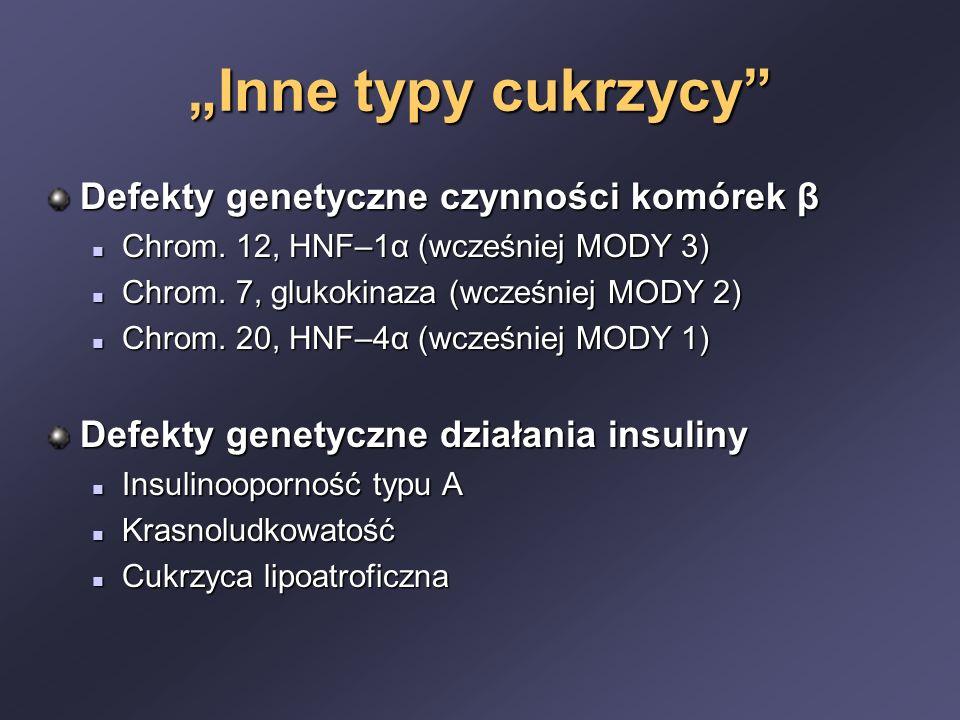 """""""Inne typy cukrzycy Defekty genetyczne czynności komórek β"""