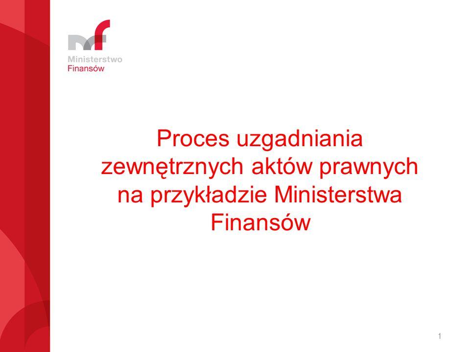 Proces uzgadniania zewnętrznych aktów prawnych na przykładzie Ministerstwa Finansów