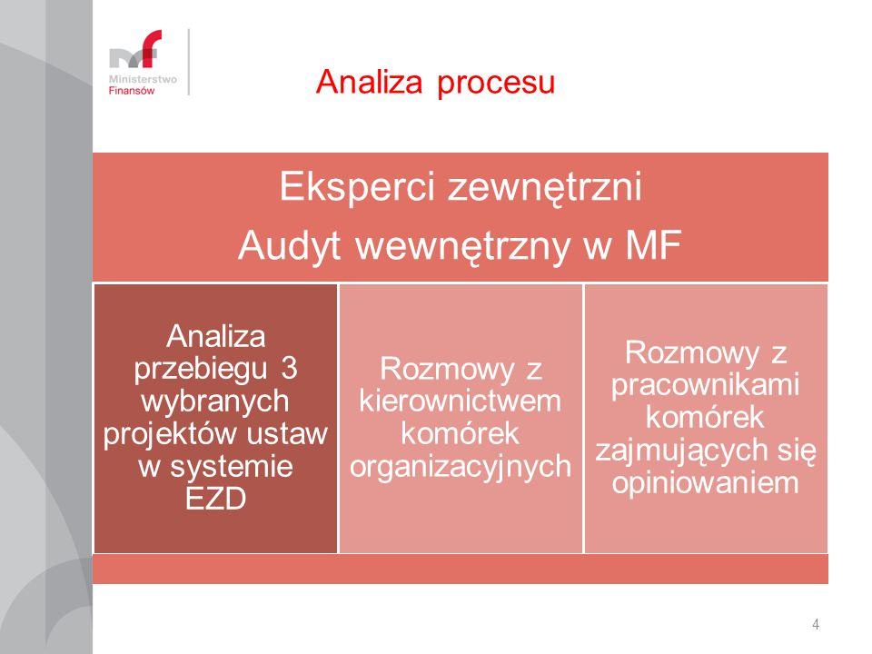 Eksperci zewnętrzni Audyt wewnętrzny w MF Analiza procesu