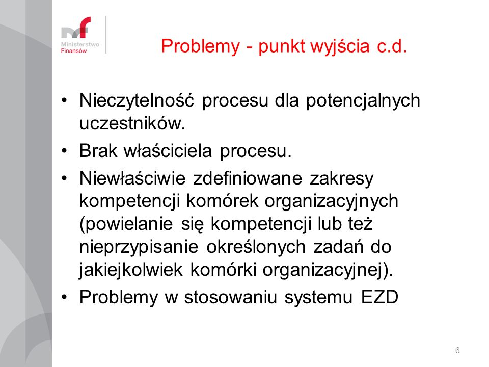 Problemy - punkt wyjścia c.d.