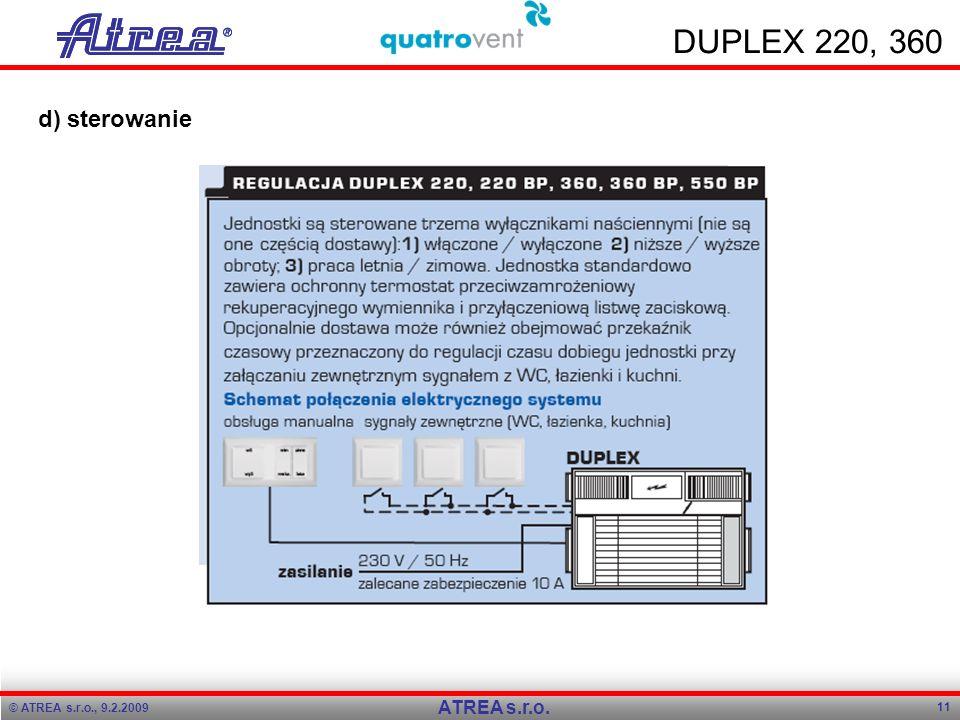 DUPLEX 220, 360 d) sterowanie ATREA s.r.o. Program přednášky