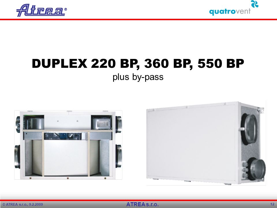 DUPLEX 220 BP, 360 BP, 550 BP plus by-pass