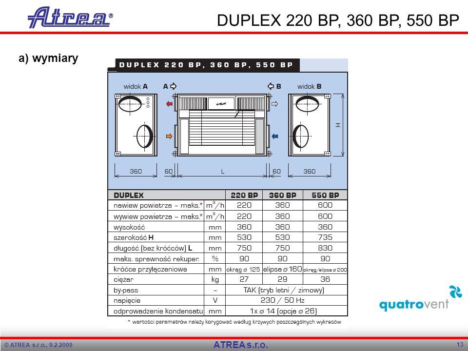 DUPLEX 220 BP, 360 BP, 550 BP a) wymiary ATREA s.r.o.