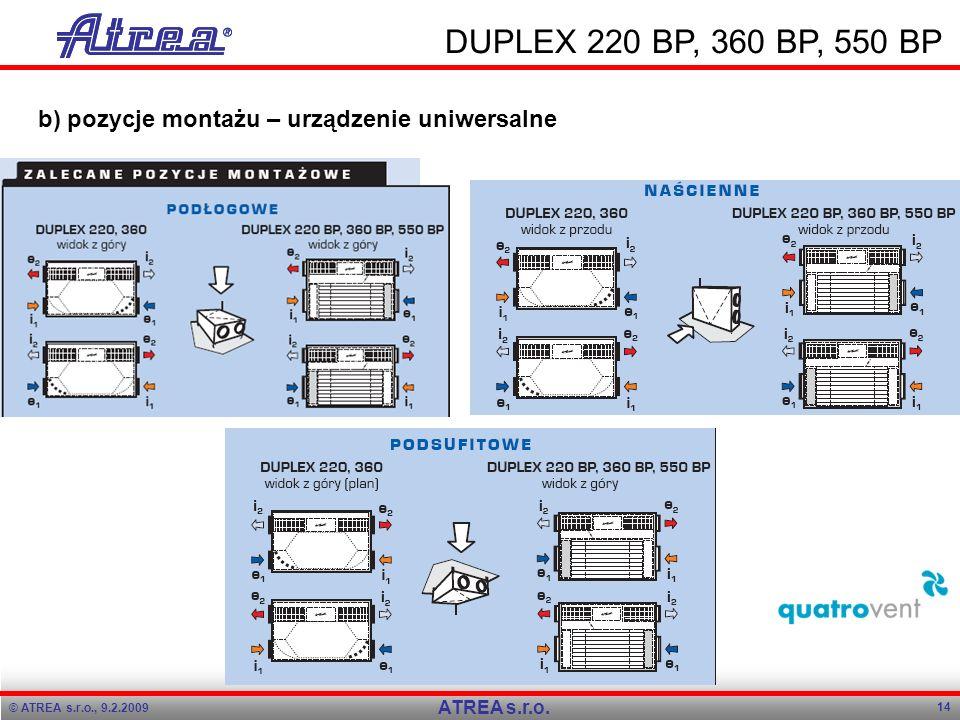 Program přednášky Program přednášky. 9.2.2009. 9.2.2009. DUPLEX 220 BP, 360 BP, 550 BP. b) pozycje montażu – urządzenie uniwersalne.