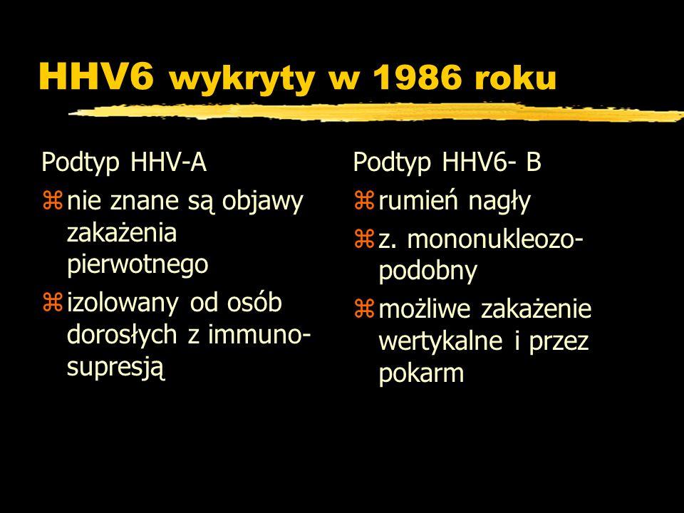 HHV6 wykryty w 1986 roku Podtyp HHV-A