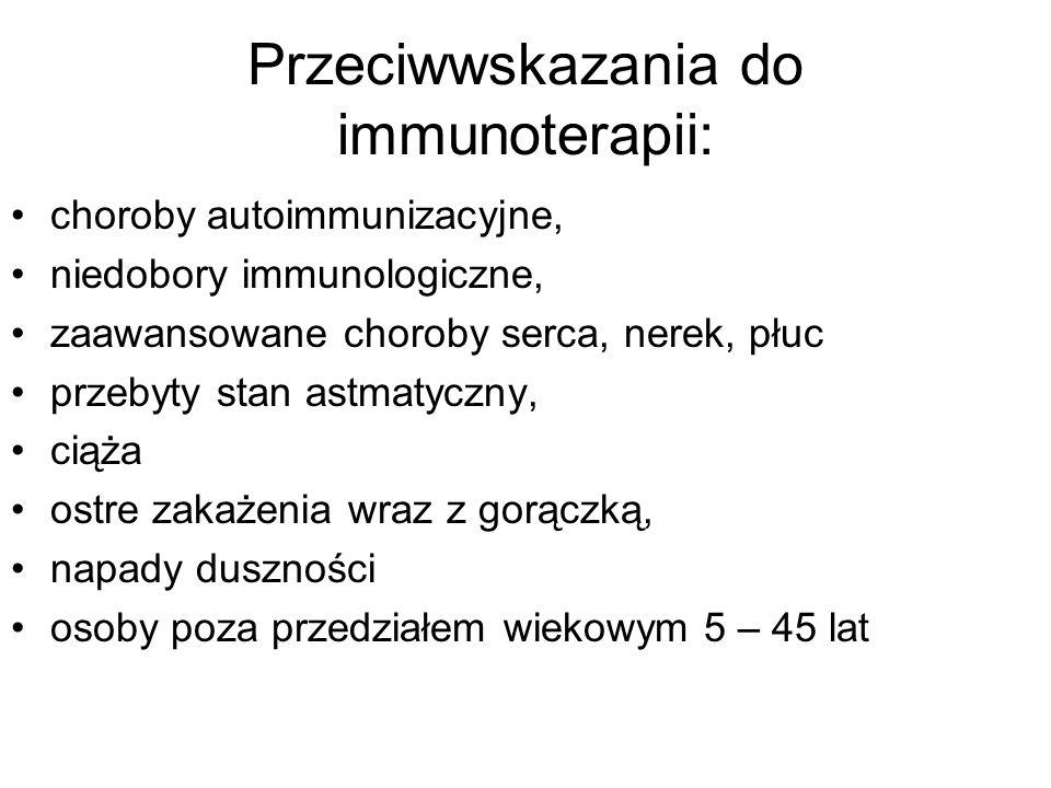 Przeciwwskazania do immunoterapii: