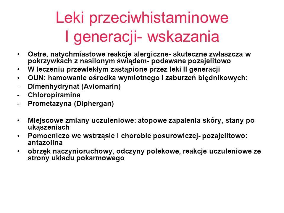Leki przeciwhistaminowe I generacji- wskazania