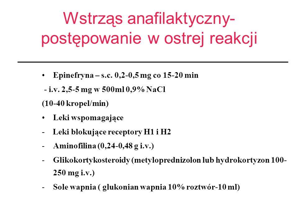 Wstrząs anafilaktyczny- postępowanie w ostrej reakcji