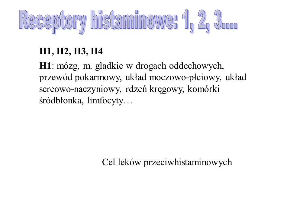 Receptory histaminowe: 1, 2, 3....
