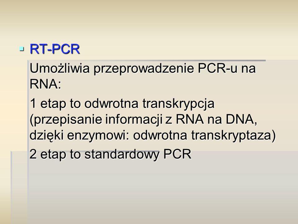 RT-PCR Umożliwia przeprowadzenie PCR-u na RNA: