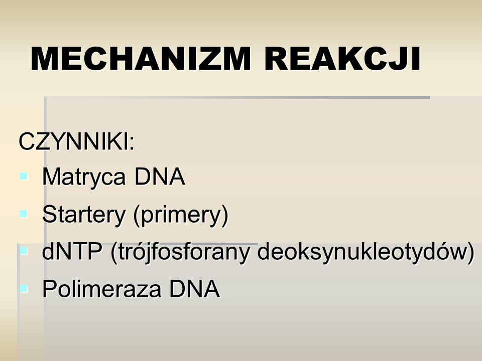 MECHANIZM REAKCJI CZYNNIKI: Matryca DNA Startery (primery)
