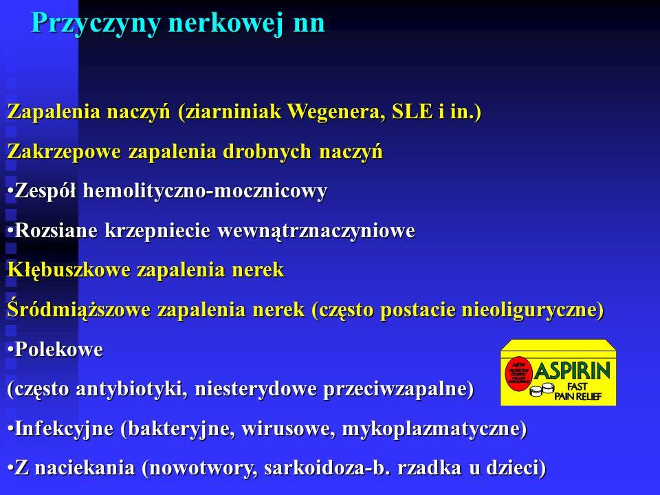 Przyczyny nerkowej nn Zapalenia naczyń (ziarniniak Wegenera, SLE i in.) Zakrzepowe zapalenia drobnych naczyń.