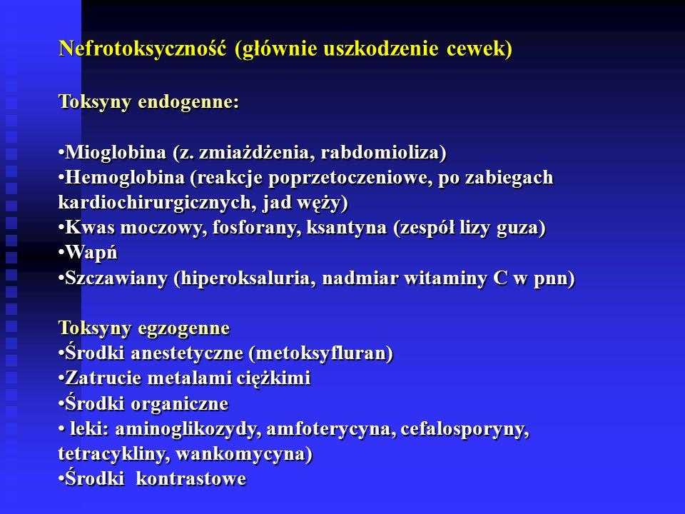 Nefrotoksyczność (głównie uszkodzenie cewek)