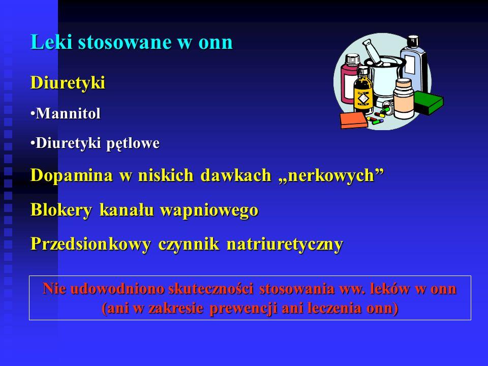 """Leki stosowane w onn Diuretyki Dopamina w niskich dawkach """"nerkowych"""