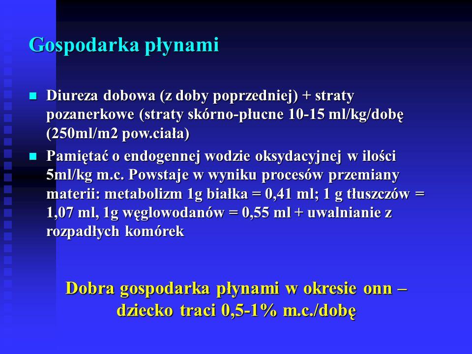 Gospodarka płynami Diureza dobowa (z doby poprzedniej) + straty pozanerkowe (straty skórno-płucne 10-15 ml/kg/dobę (250ml/m2 pow.ciała)