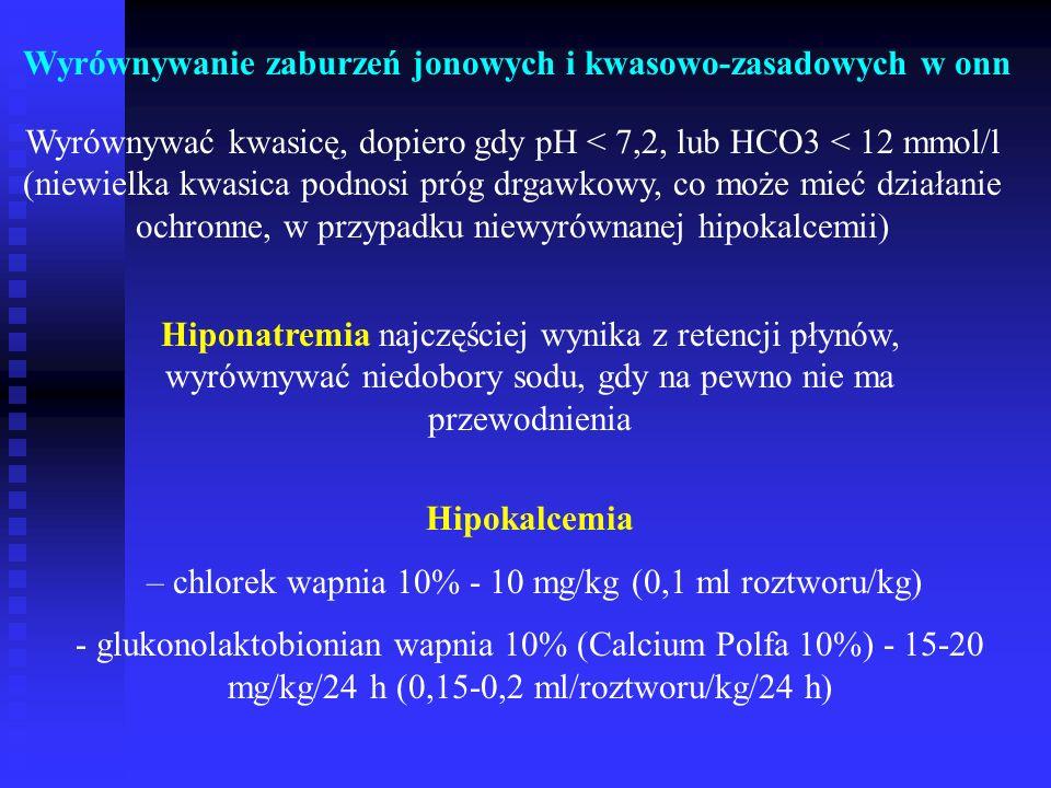 Wyrównywanie zaburzeń jonowych i kwasowo-zasadowych w onn