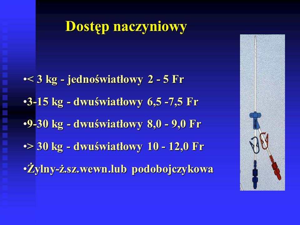 Dostęp naczyniowy < 3 kg - jednoświatłowy 2 - 5 Fr